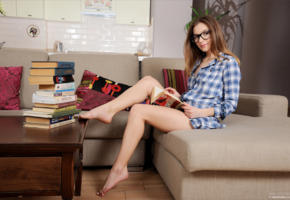 stefani, nerdy, teen, books, legs, feet, homework, book