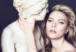 scarlett johansson, dolce gabbana, statue, blonde, perfect lips