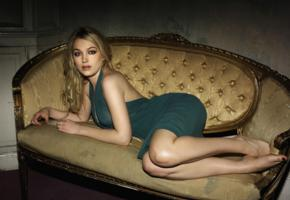 sophia myles, blonde, sexy, green dress