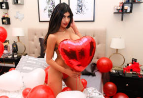 mia khalifa, boobs, cleavage, low quality, pornstar, sexy babe, long hair, hot, lingerie, valentine, red