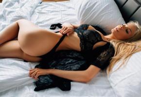katerina shiryaeva, blonde, ass, bed, black panties, pillows, low quality, lingerie