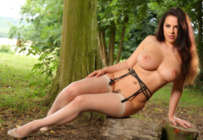 jo paul, stockings, trimmed pussy, tanned, boobs, big tits, nipples, brunette, forest