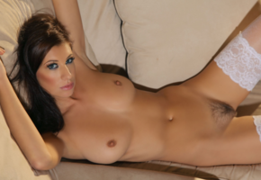 maria erikson, tanned, stockings, white stockings, brunette, tits, boobs, nipples, trimmed pussy, pussy