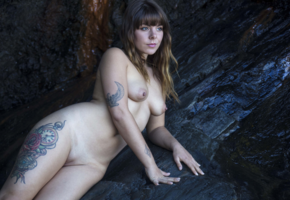 tattoo, naked, shaved pussy, pussy, brunette, tits, nipples