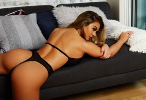 thalia paris, blonde, black lingerie, ass, tanned, thong, panties