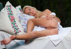 blonde, ass, pussy, labia, tanned, feet, legs, bed, pillows