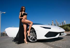 brunnete, legs, car, outdoor, sexy, high heels, glasses, black bra, lingerie, mashulka pochekutova, tanned