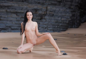 sapphira, sapphira a, maya m, evinka, brunette, beach, naked, boobs, tits, nipples, shaved pussy, labia, spread legs, smile, ultra hi-q