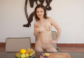 anata, sexy, brunette, chair, erotic, shaved, tits, boobs, shaved pussy, pussy, nude