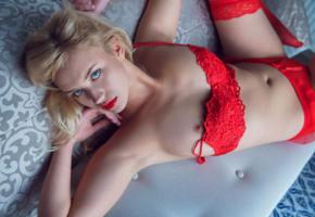 mary lin, blonde, blue eyes, red lingerie, lingerie, red bra, bra, panties, red panties