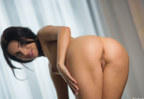 ass, tanned, naked, brunette, tits, big ass, labia, pussy