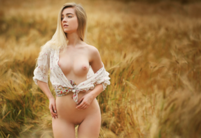 sophia, field, outdoor, boobs, big tits, nipples, shaved pussy, pussy, hot