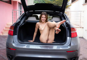 laina, brunette, car, naked, small tits, nipples, pussy, labia, ass, smile, ultra hi-q