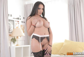 katrina moreno, brunette, busty, stockings, boobs, big tits, nipples, trimmed pussy, pussy, suspenders