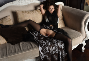 prima, stockings, black stockings, brunette, shaved pussy, labia, pussy, spread legs