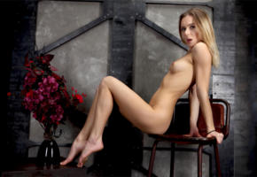karissa diamond, dana p, delicia, karissa, katie a, model, pretty, blonde, blue eyes, tits, hard nipples, legs, graceful feet, chair, flowers, soft focus, nude