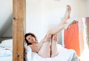 nelya smalls, any, jorden, kastiel, nelya small, petite nelya, riley a, model, brunette, legs up, legs, pussy, shaved pussy, labia, tip toes, soles, graceful feet, bed, bedroom, soft focus, nude