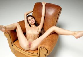 leona mia, leona a, model, pretty, dark hair, smile, sweet, tits, open legs, legs, long legs, beautiful legs, pussy, shaved pussy, labia, anus, armchair, nude