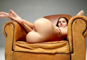 leona mia, leona a, model, pretty, sweet, pussy, shaved pussy, labia, anus, ass, legs, soles, graceful feet, armchair, nude