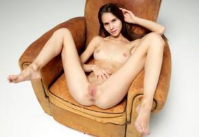 leona mia, leona a, model, pretty, dark hair, long hair, smile, sweet, perfect girl, tits, open legs, legs, pussy, shaved pussy, labia, anus, armchair, nude