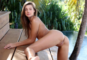 maria ryabushkina, maria, tara, melena, maria rya, brunette, outdoors, pool, naked, tanned, boobs, shaved pussy, labia, ass, anus, ultra hi-q