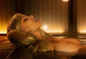 disharmonica, helly valentine, blonde, topless, wet, boobs, tits, nipples, ann takamaki, cosplay