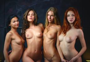 4 babes, 4 girls, boobs, tits, angelica, keira, caprice, red fox, keira albina, little caprice, nude, tanned, hot, smile, nipples