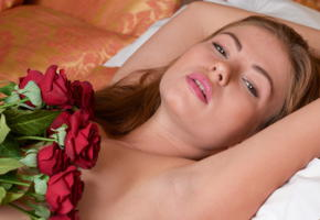 hilary c, lerae, ksiniya, amy, jenna, jenny, face, red roses, brunette