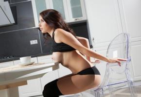 niemira, busty, brunette, kitchen, big tits, firm tits, panties, socks, boobs, tits, nipples, hot, sexy