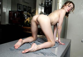 alice shea, akari y, kateryna g, natalie d, katy g, model, sensual lips, blue eyes, back, doggy, pussy, shaved pussy, labia, anus, soles, graceful feet, table, nude