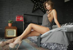 jenny q, sexy, hot, shoes, legs, boobs, heels, bed