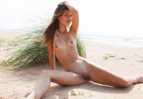 lada a, laina, beach, nude, tanned, smile, brunette, pussy, labia, shaved pussy, spreading legs, tits, nipples, sea