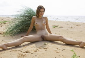 lada a, laina, beach, nude, tanned, smile, brunette, pussy, labia, shaved pussy, spreading legs, sea, tits, nipples