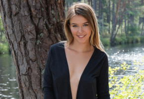 dominika jule, smile, lake, outdoors