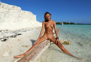 katya clover, clover, mango, caramel, mango a, brunette, beach, tanned, naked, boobs, tits, nipples, shaved pussy, labia, spread legs, log, wet, smile, hi-q