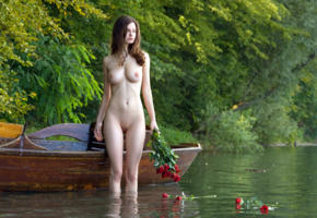 susann, brunette, naked, water, boat, roses, boobs, big tits, nipples, shaved pussy, labia, wet, hi-q