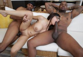 monstercocks, glasses, boobs, oral, pussy, sex, shaved pussy, labia, brunette, threesome, dick, cock, big tits, huge cock, mia khalifa, suck dick, blowjob