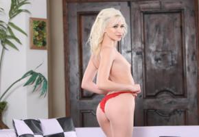 kiara cole, blonde, doors, red panties, topless, small tits, ass, smile, hi-q, panties