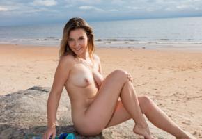 dominika jule, model, brunette, nude, beach, boobs, tits, nipples, smile, sea, legs