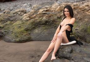 dionisia, brunette, model, beach, outdoor, boobs, tits, nipples, nude, smile, legs