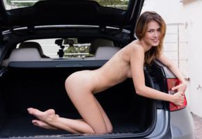 laina, nude, skinny, kneeling, inside car, ass, feet, laura angelina
