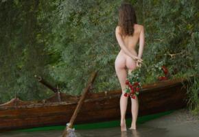 susann, brunette, nude, boat, river, flowers, roses, ass, back