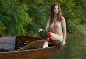 susann, big boobs, boobs, big tits, nipples, brunette, nude, boat, river, flowers, roses