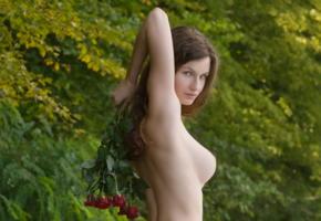 susann, boobs, big tits, brunette, nude, flowers, roses