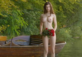 susann, big boobs, boobs, big tits, nipples, brunette, nude, boat, river, flowers, roses, shaved pussy