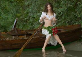 susann, big boobs, boobs, big, brunette, boat, river, flowers, roses