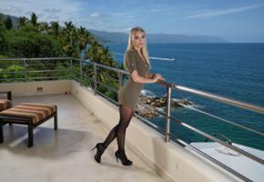 riley anne, blonde, non nude, sea, balcony, pantyhose