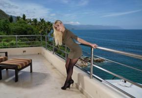 riley anne, solo, blonde, non nude, sea, balcony, pantyhose