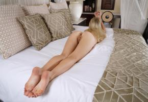 riley anne, blonde, shaved pussy, pussy, labia, ass, anus, bed, long legs, feet