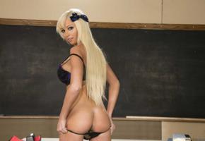rikki six, schoolgirl, blonde, pretty, sexy, busty, bra, ass, back